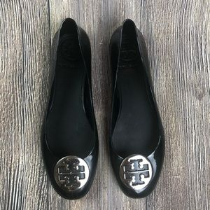 Tory Burch Black Rubber Jelly Flats